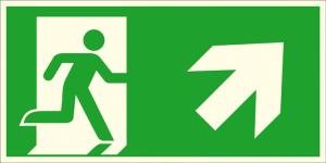 Rettungsschild Notausgang rechts, schräg aufwärts (Kombischild), langnachleuchtend (Maße (BxH) / Material: 300 x 150 mm / Folie, selbstklebend (Art.Nr.: 38.a1070))