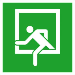 Rettungsschild Notausstieg, langnachleuchtend (Maße (BxH) / Material: 150 x 150 mm / Folie, selbstklebend (Art.Nr.: 38.a2030))