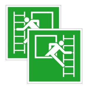 Rettungsschild Notausstieg mit Fluchtleiter, links / rechts, langnachleuchtend (Maße / Material / Weisung: 150 x 150 mm<br> <b>Folie</b>, selbstklebend,<br>Fluchtleiter links (Art.Nr.: 38.3019))