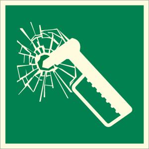 Rettungsschild Nothammer, langnachleuchtend (Maße (BxH): 50 x 50 mm (Art.Nr.: 38.a2110))