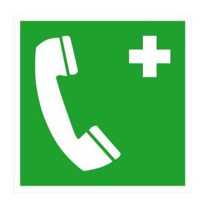 Rettungsschild Notruftelefon (Maße (BxH)/Material: 150 x 150 mm<br> <b>Folie</b>, selbstklebend<br>langnachleuchtend (Art.Nr.: 38.0067))