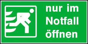 Rettungsschild Nur im Notfall öffnen (Ausführung: Rettungsschild Nur im Notfall öffnen (Art.Nr.: 21.0095))