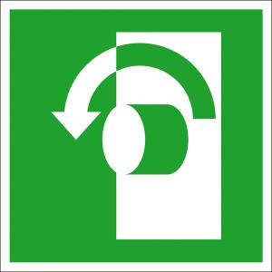 Rettungsschild Öffnung durch Linksdrehung, langnachleuchtend (Maße (BxH) / Material: 100 x 100 mm / Folie, selbstklebend (Art.Nr.: 38.a2050))