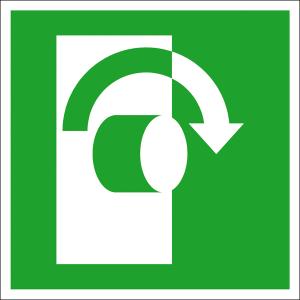 Rettungsschild Öffnung durch Rechtsdrehung, langnachleuchtend (Maße (BxH) / Material: 100 x 100 mm / Folie, selbstklebend (Art.Nr.: 38.a2055))