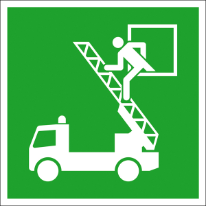 Rettungsschild Rettungsausstieg, langnachleuchtend (Maße (BxH)/Material: 150 x 150 mm / Folie, selbstklebend (Art.Nr.: 38.a2040))