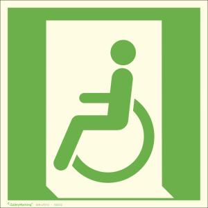 Rettungsschild Rettungsweg - Notausgang für nicht gehfähige Personen links, langnachleuchtend (Maße (BxH) / Material: 150 x 150 mm<br> <b>Folie</b>, selbstklebend (Art.Nr.: 38.a3032))