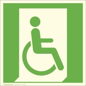 Rettungsschild Rettungsweg - Notausgang für nicht gehfähige Personen rechts, langnachleuchtend (Maße (BxH) / Material: 150 x 150 mm<br> <b>Folie</b>, selbstklebend (Art.Nr.: 38.a3030))