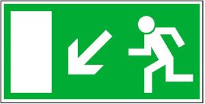 Rettungsschild Rettungsweg links abwärts, langnachleuchtend (Maße (BxH)/Material: 300x150mm/ <b>Folie,selbstklebend</b> (Art.Nr.: 38.0021))