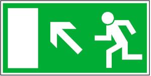 Rettungsschild Rettungsweg links aufwärts, langnachleuchtend (Maße (BxH)/Material: 300x150mm/ <b>Folie,selbstklebend</b> (Art.Nr.: 38.0017))