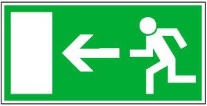 Rettungsschild Rettungsweg links, langnachleuchtend (Maße (BxH)/Material: 300x150 mm /  <b>Folie</b>, selbstklebend (Art.Nr.: 38.0005))