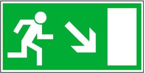 Rettungsschild Rettungsweg rechts abwärts, langnachleuchtend (Maße (BxH)/Material: 300x150mm/ <b>Folie,selbstklebend</b> (Art.Nr.: 38.0023))