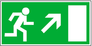 Rettungsschild Rettungsweg rechts aufwärts, langnachleuchtend (Maße (BxH)/Material: 300x150mm/ <b>Folie,selbstklebend</b> (Art.Nr.: 38.0019))