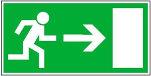 Rettungsschild Rettungsweg rechts, langnachleuchtend (Maße (BxH)/Material: 300x150 mm /  <b>Folie</b>, selbstklebend (Art.Nr.: 38.0008))