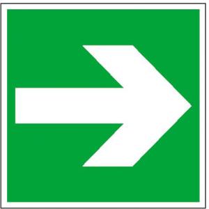 Rettungsschild Richtungspfeil gerade (Maße (BxH)/Material: 150x150mm<br>Folie,selbstklebend (Art.Nr.: 21.0055))