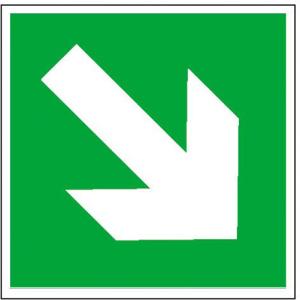 Rettungsschild Richtungspfeil schräg (Größe/Material: 150x150mm<br>Folie,selbstklebend (Art.Nr.: 21.0090))