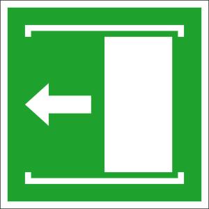 Rettungsschild Schiebetür öffnet nach links, langnachleuchtend (Maße (BxH) / Material: 100 x 100 mm / Folie, selbstklebend (Art.Nr.: 38.a2085))