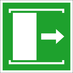 Rettungsschild Schiebetür öffnet nach rechts, langnachleuchtend (Maße (BxH) / Material: 100 x 100 mm / Folie, selbstklebend (Art.Nr.: 38.a2082))