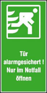 Rettungsschild Tür alarmgesichert! Nur im Notfall öffnen (Hochformat) (Ausführung: Rettungsschild Tür alarmgesichert! Nur im Notfall öffnen (Hochformat) (Art.Nr.: 21.0161))