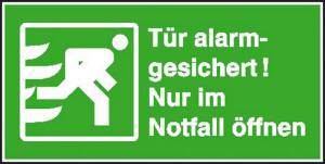 Rettungsschild Tür alarmgesichert! Nur im Notfall öffnen (Querformat) (Ausführung: Rettungsschild Tür alarmgesichert! Nur im Notfall öffnen (Querformat) (Art.Nr.: 21.0156))