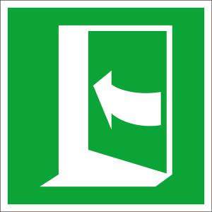 Rettungsschild Tür öffnet durch Drücken auf der linken Seite (Maße (BxH) / Material: 100 x 100 mm / Folie, selbstklebend (Art.Nr.: 38.a2075))