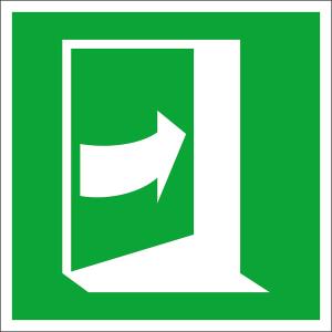 Rettungsschild Tür öffnet durch Drücken auf der rechten Seite, langnachleuchtend (Maße (BxH) / Material: 100 x 100 mm / Folie, selbstklebend (Art.Nr.: 38.a2077))