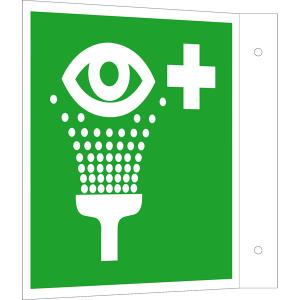 Rettungsschild als Fahnenschild Augenspüleinrichtung, langnachleuchtend (Maße (BxH): 150 x 150 mm (Art.Nr.: 15.a3912))