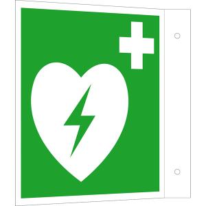 Rettungsschild als Fahnenschild Defibrillator, langnachleuchtend (Maße (BxH) / Material: 150 x 150 mm <b><br>Alu</b>, beschichtet (Art.Nr.: 15.a3902))