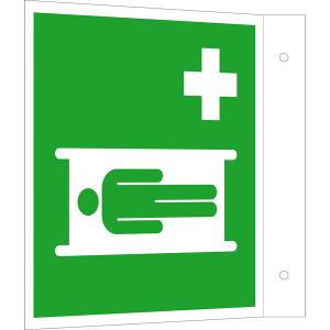 Rettungsschild als Fahnenschild Krankentrage, langnachleuchtend (Maße (BxH): 150 x 150 mm (Art.Nr.: 15.a3922))