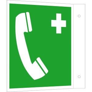 Rettungsschild als Fahnenschild Notruftelefon, langnachleuchtend (Maße (BxH) / Material: 150 x 150 mm<br> <b>Alu</b>, beschichtet (Art.Nr.: 15.a3932))
