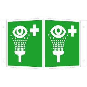 Rettungsschild als Winkelschild Augenspüleinrichtung, langnachleuchtend (Maße (BxH) / Material: 150 x 150 mm<br> <b>Alu</b>, beschichtet (Art.Nr.: 15.a3910))
