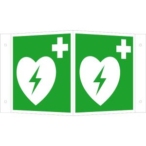 Rettungsschild als Winkelschild Defibrillator, langnachleuchtend (Maße (BxH) / Material: 150 x 150 mm<br> <b>Alu</b>, beschichtet (Art.Nr.: 15.a3900))