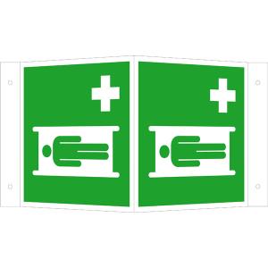 Rettungsschild als Winkelschild Krankentrage, langnachleuchtend (Maße (BxH): 150 x 150 mm (Art.Nr.: 15.a3920))