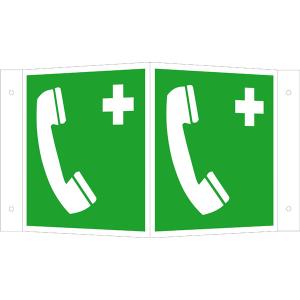 Rettungsschild als Winkelschild Notruftelefon, langnachleuchtend (Maße (BxH) / Material: 150 x 150 mm<br> <b>Alu</b>, beschichtet (Art.Nr.: 15.a3930))