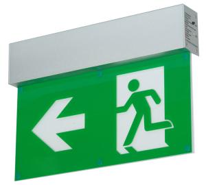 Rettungszeichenleuchte -LED Fux- mit Autotest-Funktion, Erkennungsweite 27 m, Wand-, Pendel- oder Deckenmontage (Befestigung/Maße(BxHxT)/Notlichtdauer: Deckeneinbaumontage/355x201x113mm<br> <b>Batterie 3 Stunden</b> (800 mAH) (Art.Nr.: 39250))