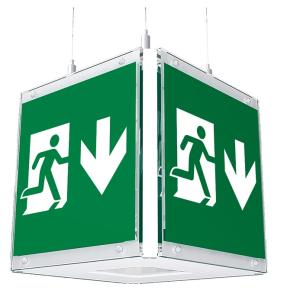 Rettungszeichenwürfel -CUBE-Lux- LED mit Autotest-Funktion, Erkennungsweite 41 m, Deckenmontage (Modell : ohne Seilaufhängung<br>(falls kundenseitig vorhanden) (Art.Nr.: br570031))