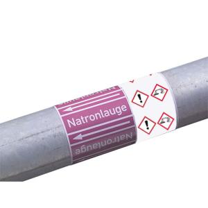 Rohrleitungs-Kennzeichnungsbänder, DIN 2403:2007-05, (Gruppen 1, 2, 3, 6, 7, 0) mit GHS-Symbol