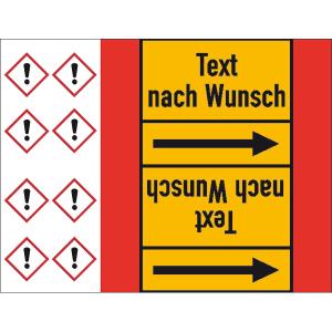 Rohrleitungs-Kennzeichnungsbänder, DIN 2403:2007-05, (Gruppen 4, 5, 8, 9) mit GHS-Symbol