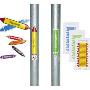 Rohrleitungskennzeichnungs-Etiketten, Gruppe 8, Brennb. Flüssigkeiten, nach TRGS 201 und DIN 2403