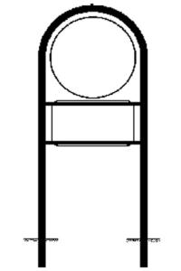 Rohrrahmen Typ 19, inkl. Erdanker (Maße (ØxHxB): Ø 420mm u. 231x420mm (Art.Nr.: az-6551))
