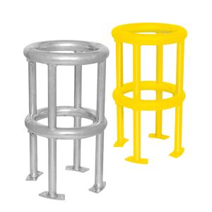 Rohrschutz -Circle Mountain- aus Stahl, zum Aufdübeln, Höhe 600 mm, wahlweise gelb beschichtet (Farbe: feuerverzinkt, ohne Farbe (Art.Nr.: 39353))