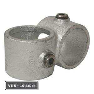 Rohrverbinder -90&deg; Querschelle-, VE 5 - 10 St&uuml;ck, aus Temperguss, T&Uuml;V-gepr&uuml;ft (f&uuml;r Rohr-Durchmesser/Verpackungseinheit (VE):  <b>33,7 mm</b> (VE 10 Stk.) (Art.Nr.: 31699))