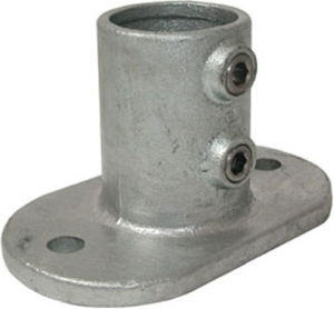 Rohrverbinder -Fußplatte oval-, aus Temperguss, TÜV-geprüft, VPE 5 - 10 Stk. (für Rohr-Durchmesser/Menge:  <b>26,9 mm</b> / VPE 10 Stk. (Art.Nr.: 31659))