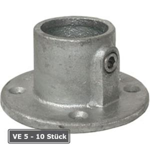Rohrverbinder -Fu&szlig;platte rund-, VE 5 - 10 St&uuml;ck, aus Temperguss, T&Uuml;V-gepr&uuml;ft (f&uuml;r Rohr-Durchmesser/Verpackungseinheit (VE):  <b>26,9 mm</b> (VE 10 Stk.) (Art.Nr.: 31654))