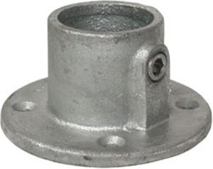 Rohrverbinder -Fußplatte rund-, aus Temperguss, TÜV-geprüft, VPE 5 - 10 Stk. (für Rohr-Durchmesser/Menge:  <b>26,9 mm</b> / VPE 10 Stk. (Art.Nr.: 31654))