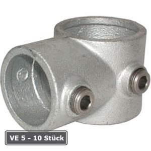 Rohrverbinder -T-St&uuml;ck kurz-, VE 5 - 10 St&uuml;ck, aus Temperguss, T&Uuml;V-gepr&uuml;ft (f&uuml;r Rohr-Durchmesser/Verpackungseinheit (VE):  <b>26,9 mm</b> / (VE 10 Stk.) (Art.Nr.: 31623))