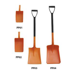 Schaufeln / Schneeschaufeln aus Polypropylen, korrosionsbeständig, VPE 10 Stk. (Modelle/Schaufelmaße(LxBxH)/Gesamtlänge/Menge: PP01 Handschaufel<br>190 x 140 x 75 mm / 310 mm<br>VPE 10 Stk. (Art.Nr.: 15117))