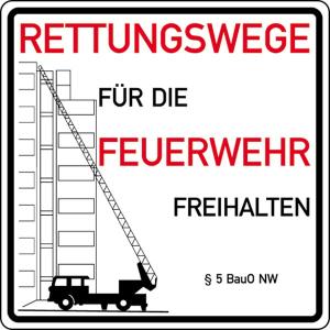 Schild Rettungswege für die Feuerwehr freihalten (Material: Alu, Stärke 1mm (Art.Nr.: 51.2764))