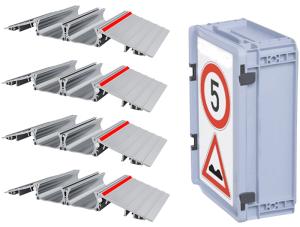 Schlauchbrücke -Segnod IV-, für Schläuche bis Ø 75 mm, Breite 550 mm, Aluminium (Modell/Lieferumfang/Gewicht: 2B-4M<br> <b>8 x</b> Schlauchtunnel-Elemente<br> <b>8 x</b> Rampen-Elemente<br>Gewicht 21,7 kg (Art.Nr.: 37555))