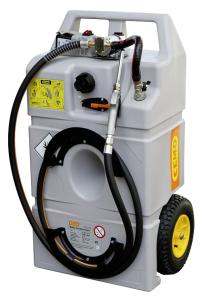 Schmierstofftrolley -CEMO-, aus Polyethylen, mit selbstansaugender Elektro-Zahnradpumpe 12 V (Volumen/Maße(LxBxH)/Raddurchmesser/Länge Zapfschlauch:  <b>60 Liter</b><br>900x530x380mm<br>Ø 240mm/2,7m (Art.Nr.: 37009))