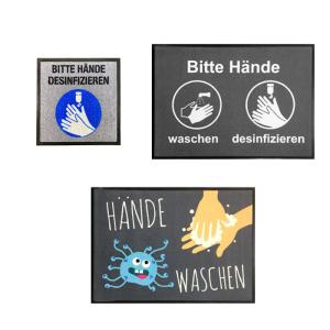 Schmutzfangmatte -Hygiene-, verschiedene Motive ( <b>Motiv</b>/ Maße (BxH) wählen:  <b>Bitte Hände desinfizieren (hellgrau)</b><br>450 x 450 mm (Art.Nr.: 90.1287))